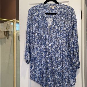 3x coldwater creek blue floral 3/4 sleeve tunic